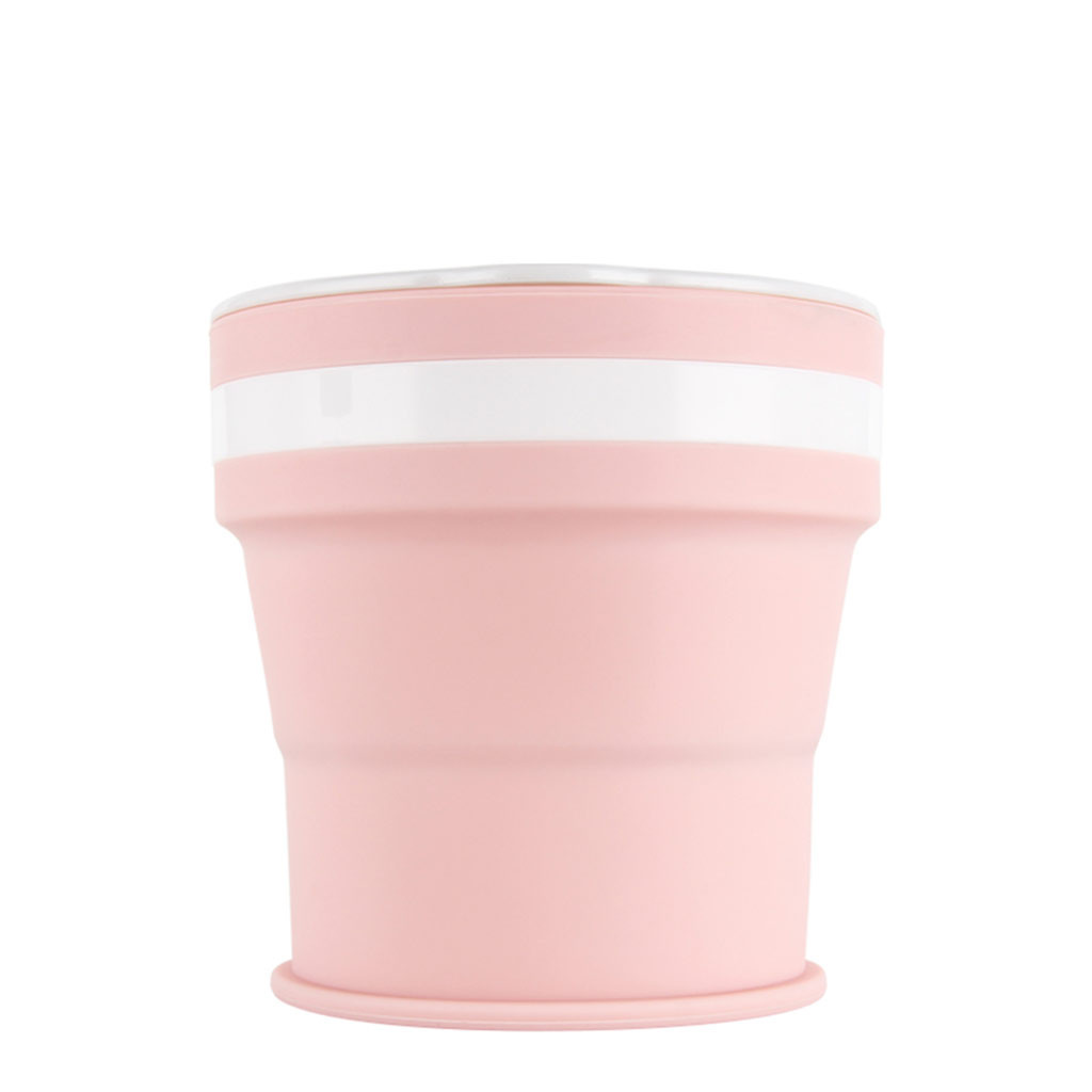 Туристична складна гуртка 350 мл. туристичний силіконовий складаний склянку. Туристична посуд світло-рожевий