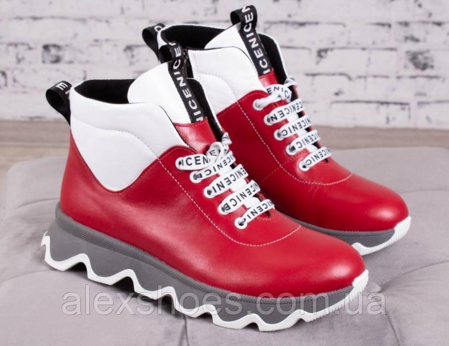 Ботинки молодежные на толстой подошве из натуральной кожи от производителя модель БС6035-2
