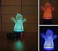 3d-светильник Снеговик, 3д-ночник, несколько подсветок (батарейка+220В)