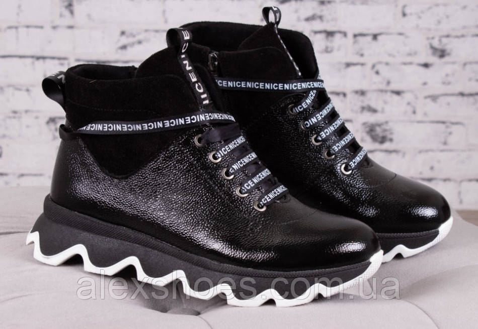 Ботинки молодежные на толстой подошве из натуральной кожи от производителя модель БС6035-3