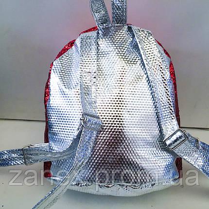 Женский красный + серебристый рюкзак Zanex из эко-кожи с куклой LOL Sisters 20 х 21 см, фото 2
