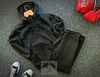 Мужской утепленный спортивный костюм, черный