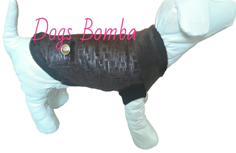 Дубленка осеняя квадраты коричневые для собак DogsBomba