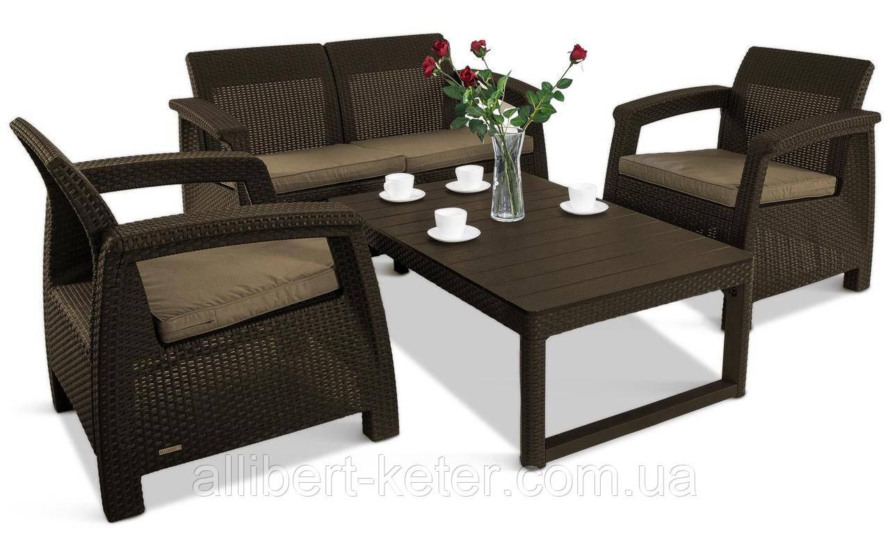 Набор садовой мебели Corfu Set Lyon Table Rattan из искусственного ротанга