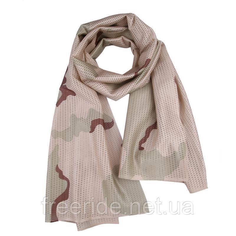 Тактический маскировочный сетчатый шарф (армейский) песок
