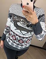 Шерстяной турецкий вязаный свитер с рисунком,серый, фото 1