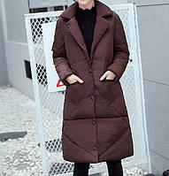 Куртка зимняя женская коричневая, длинный пуховик  СС-7873-76