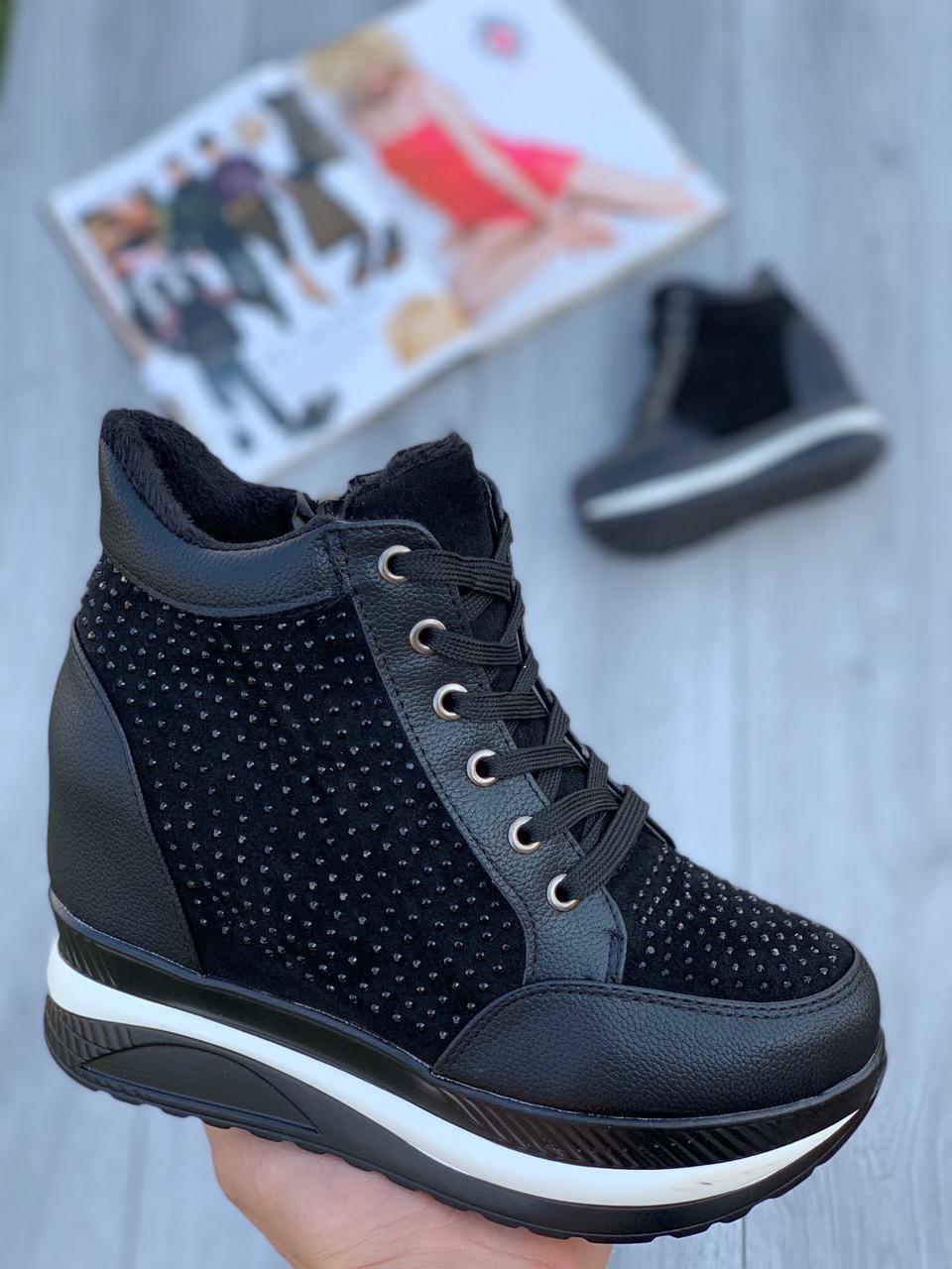 Ботинки женские Евро-Мех 6 пар в ящике черного цвета 36-40