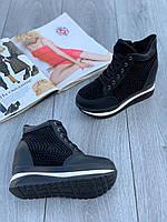 Ботинки женские Евро-Мех 6 пар в ящике черного цвета 36-40, фото 2