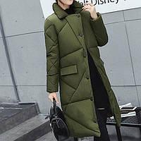 Куртка зимняя женская зеленая, длинный пуховик размер 46 (XL) СС-7873-40