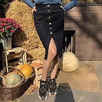 Джинсовая юбка темно-синего цвета ТМ It's Basic арт. 1298W18, размеры: 34, 36, 38, 40.
