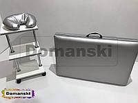 Набор, кушетка + тележка + подголовник. Для наращивания, кушетка кожзам. Массажный стол и тележка помощник.