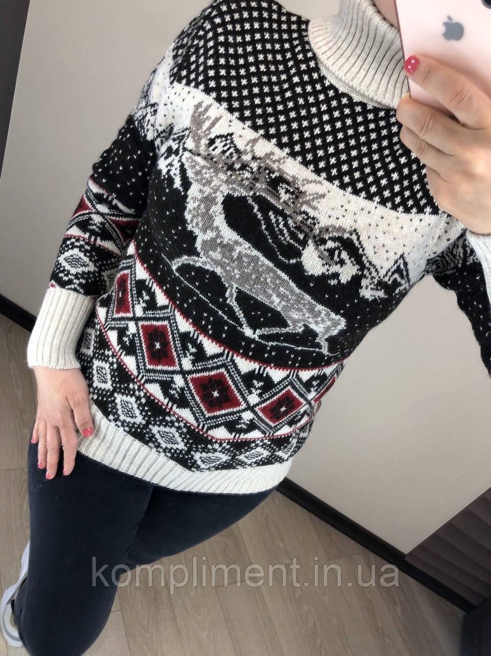Шерстяной турецкий вязаный свитер с рисунком,  4633