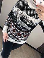 Шерстяной турецкий вязаный свитер с рисунком,  4633, фото 1