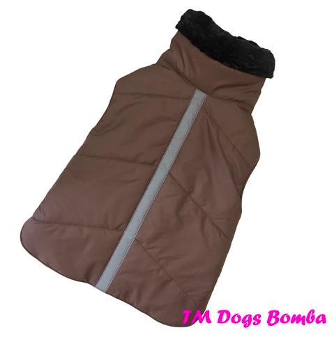Попона со светоотражающей лентой коричневая для собак DogsBomba