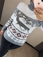 Шерстяной турецкий вязаный свитер с рисунком, светло серый, фото 1
