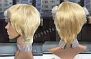Парик блонд из натуральных волос короткая стрижка женский, фото 3