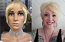 Парик блонд из натуральных волос короткая стрижка женский, фото 4