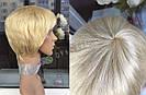 Парик блонд из натуральных волос короткая стрижка женский, фото 5