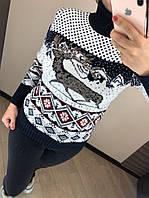 Шерстяной турецкий вязаный свитер с рисунком, темно-синий, фото 1