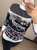 Шерстяной турецкий вязаный свитер с рисунком, белый, фото 1