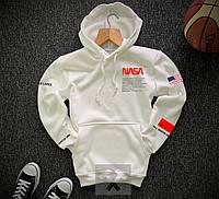 Мужская спортивная кофта худи NASA, утепленная, белая