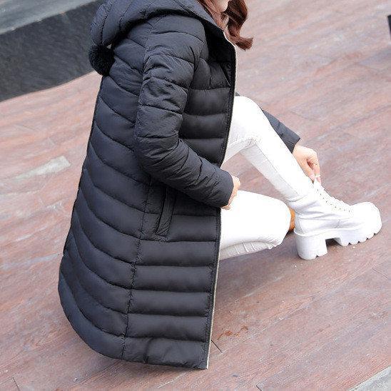 Куртка зимняя женская черная, длинный пуховик  размер 40 (L) CC-6577-10
