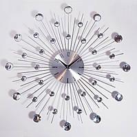 """Настенные часы (50 см) большие со стразами камнями красивые """"Солнце3 Серебро"""" [Металл] Najlepsi Cas (Чехия)"""
