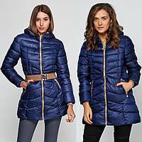 Куртка зимняя женская синяя, длинный пуховик  CC-5805-95