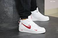 Мужские зимние кроссовки на меху в стиле Nike Air Force 1 LV8 High, кожа, полиуретан, белые с красным 45 (28 см)
