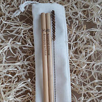 Набор многоразовых трубочек для напитков из бамбука в экомешочке, длина 20 см, 4 ед.