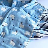 Детский муслиновый плед 6 слоёв Ламы голубой