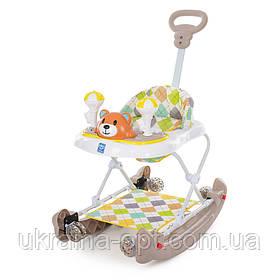 """Детские ходунки """"Медвежонок"""" Bambi M 3656A-S-1 с родительской ручкой. Звуковые и световые эффекты."""