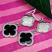 Срібні сережки висульки Конюшина - Брендові сережки Конюшина з перламутром і чорним оніксом, фото 2