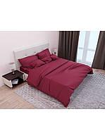 Евро комплект постельного белья двуспальный Страйп-Сатин Бордовый 240х220 см (541652)