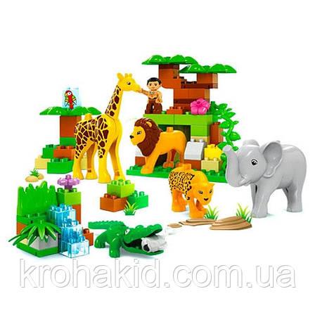 """Конструктор для малышей крупные детали """" Зоопарк"""", JDLT 5286 (аналог лего Duplo),  83 дет, фото 2"""