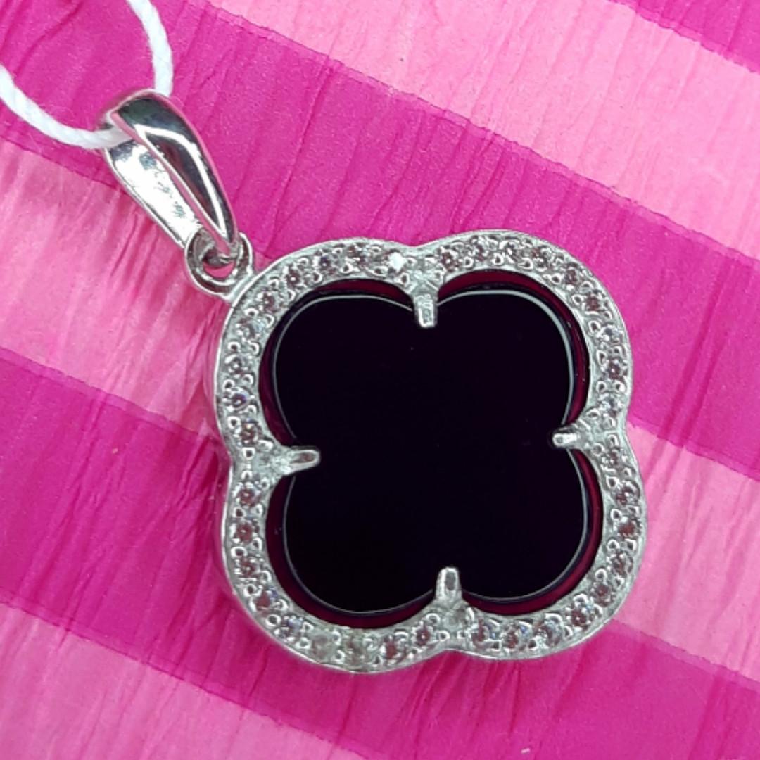 Серебряный кулон Клевер с черным ониксом - Клевер подвеска серебряная родированная