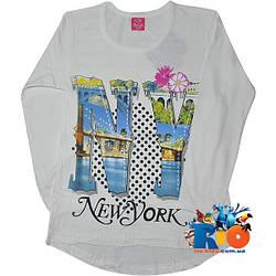 """Батник с ярким принтом """"New York"""" , трикотаж , для девочки (рост 146-164 см)"""