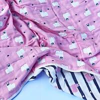 Детское хлопковое одеяло Ламы розовый