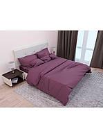 Евро комплект постельного белья двуспальный Страйп-Сатин Темно Фиолетовый 240х220 см (541716)