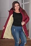 Женская зимняя куртка удлиненная Плащевка на синпоне + овчина Размер 44-46 48-50 52-54 В наличии 3 цвета, фото 5