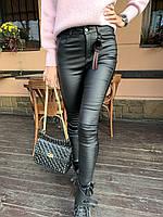 Кожаные черные брюки утепленные, ТМ Yimeite арт. 912, размеры: 25, 26, 27, 28, 29, 30