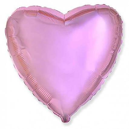 Куля фольгований серце рожеве 45 см, пастель Flexmetal Іспанія