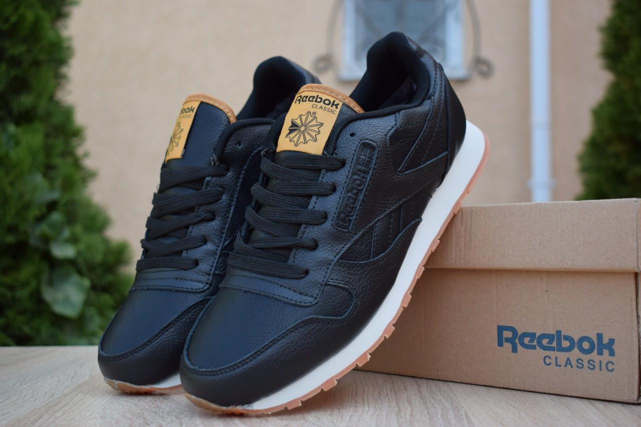 Чоловічі зимові кросівки Reebok Classic з хутром (чорні)