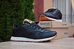 Чоловічі зимові кросівки Reebok Classic з хутром (чорні), фото 4