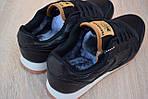 Чоловічі зимові кросівки Reebok Classic з хутром (чорні), фото 9
