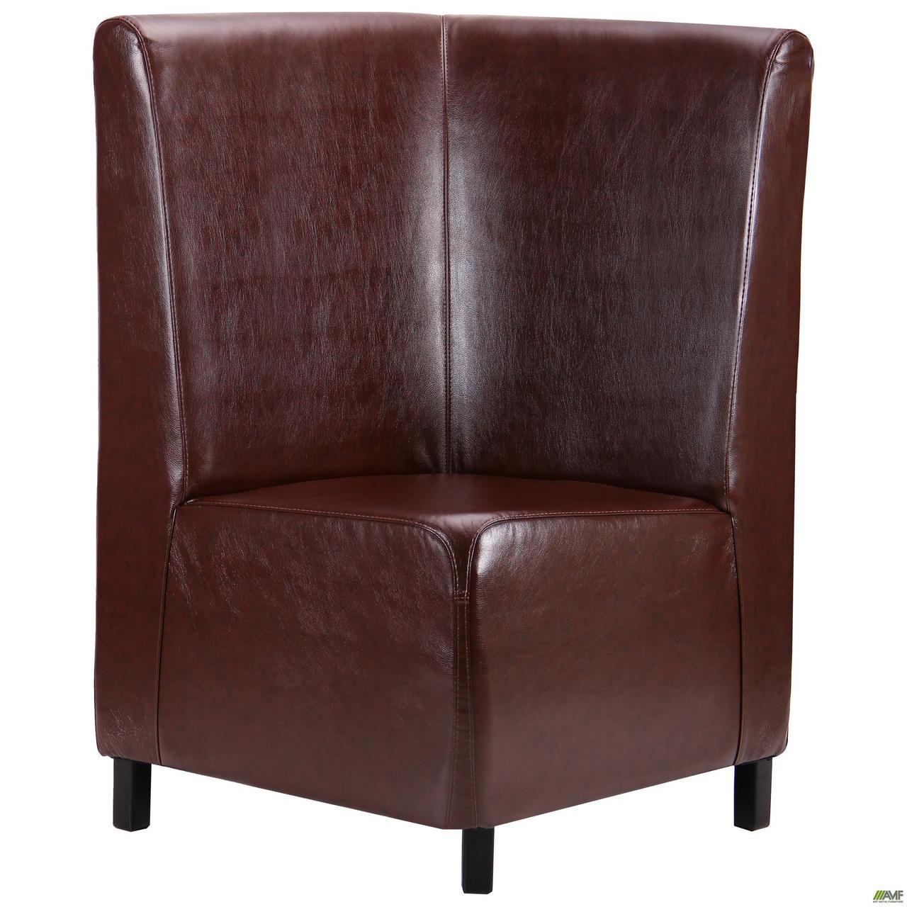 Диван Хит угловой на ножках (Н100), венге, 670*670*1100Н Мадрас дк браун ТМ АМФ