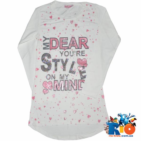 """Детский батник """"Style"""" для девочек, трикотаж (140-176 см), 4 ед в уп"""