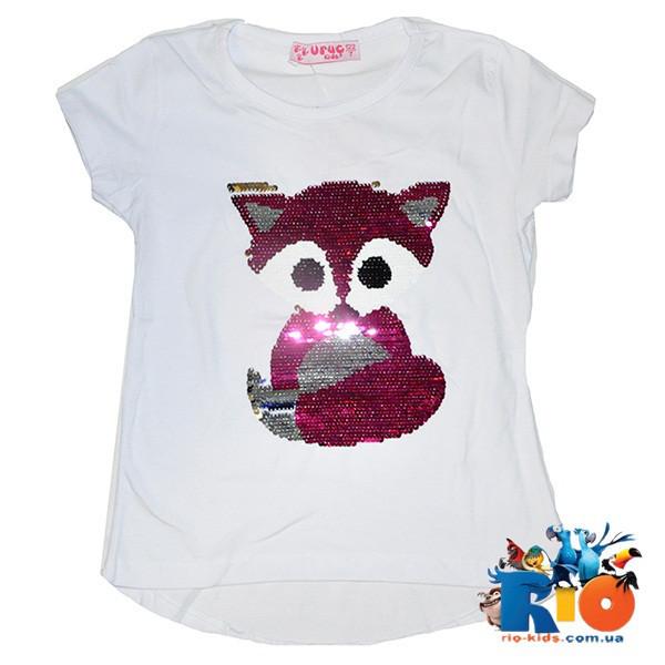 """Детская футболка """"Лисичка"""" (пайетки перевертыши) , для девочек от 7-11 лет (5 ед. в уп. )"""