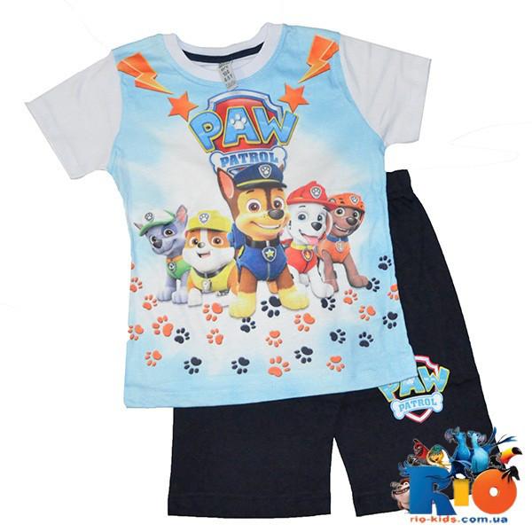 Летний костюм Щенячий патруль (футболка, шорты), 100% cotton, для мальчика ростом 98-128 см (5 ед в уп)